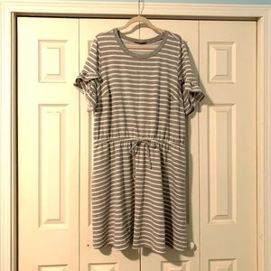 Casual Grey & White Striped Dress